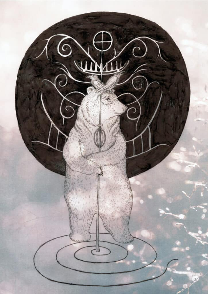 Yule Midwinter Illustration Solawende Bear Volvastaff 2017