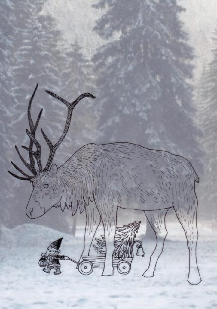 Yule Midwinter Illustration Solawende Reindeer Julbocken 2017